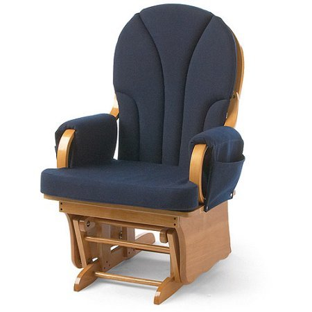 Foundations Lullaby Adult Glider Rocker, Natural/Blue by Foundations