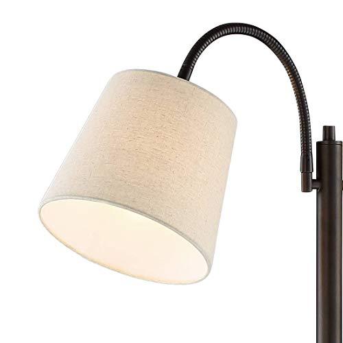 Seneca Modern Floor Lamp Dark Bronze Twin Arm Adjustable Gooseneck Neutral Cotton Drum Shade for Living Room Reading Bedroom - 360 Lighting