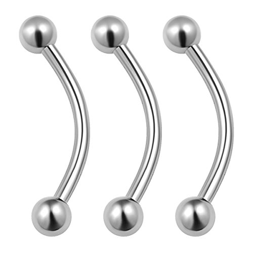 (3PCS Stainless Steel Curved Barbell 16g 1/2 12mm 3mm Ball Rook Cartilage Tragus Daith Earrings Eyebrow Piercing Jewelry 0072)