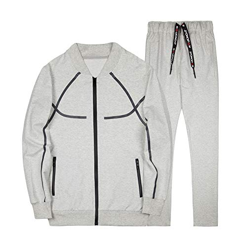 INVACHI Mens Academy Athletic Tracksuit Full Zip Running Jogging Sports Active Wear Jacket and Pants Set Beige Grey
