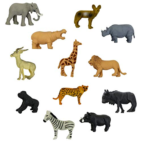 48 Pcs Savanna Safari Wild Animal Figure Set - 12 different animals (each type of 4 pcs) - Wild of Zoo Animal - Plastic Mini Educational Jungle Animal Playset - ()