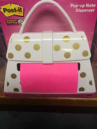 POST-IT POP-UP NOTE DISPENSER WHITE PURSE WITH GOLD DOTS by Post-it