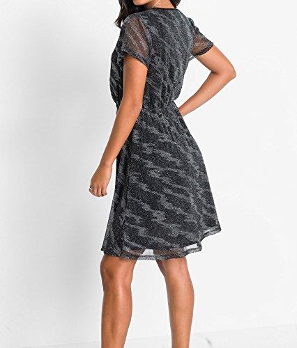 Damen Kleid mit Glitzereffekt, 218870 in Dunkelblau/Silber