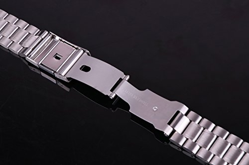 23mm Anti Allergic SS Watch Strap Wristband for Men Silver Solid INOX Steel Brushed Finish Straight End by autulet (Image #3)