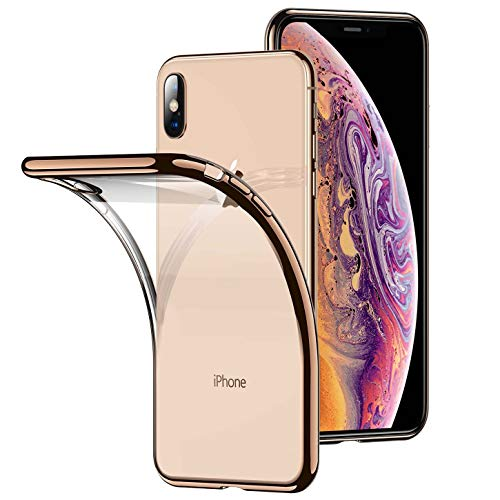 RANVOO Clear iPhone XR Case, Soft Silicone Cover with Gold Electroplated Bumper Ultra Thin Slim Fit Case for iPhone Xs Max 6.5 Inch (2018), Gold