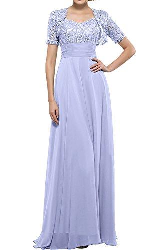 Spitze Promkleider Bolero Kurzarm Abendkleider Abschlussballkleider Blau Bodenlang mia Braut Herrlich Ballkleider La Lilac mit wPxI7an