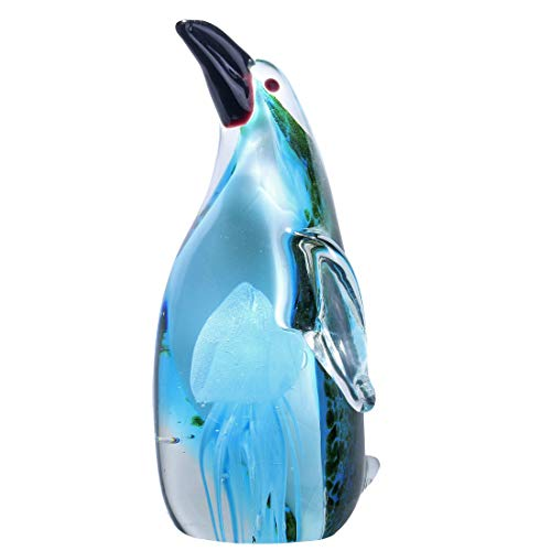Qf Crystal Figurine Handmade Penguin with A Jellyfish Handmade Glass Blown Paperweight,Murano Style Art,Ornament,Green Blown Glass Penguin Ornament