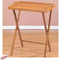 Folding Desk, Tray Shape, TV Table, Sofa Table, Watch Your Favorite Program From the Comfort Of Your Sofa While Eating Dinner Or Snack, Wooden, Oak Finish & Ebook Home Decor