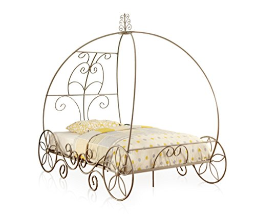 Gold Metal Carriage Clock - HOMES: Inside + Out ioHOMES Alexandria Scrolled Frame Bed, Full, Champagne