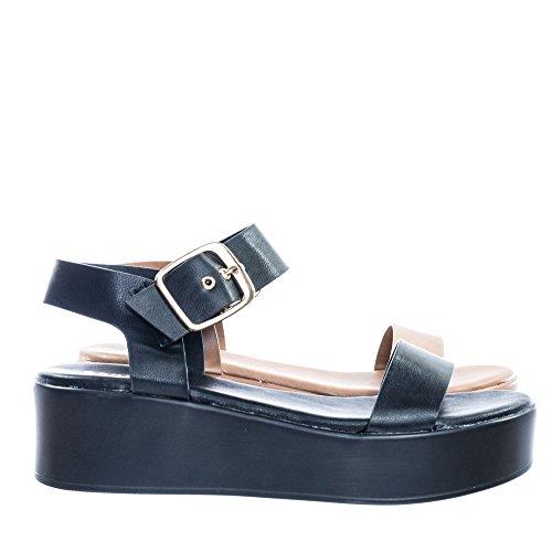 70s Retro Jute Wrap Espadrille Flat Platform Flatform Sandal, Treaded (Black Retro Wedge Sandals)