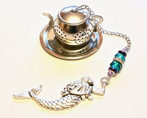 Mermaid Tea Infuser with Blue & Purple Beads by Trio Artisan Designs