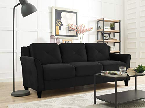 "Lifestyle Solutions Collection Grayson Micro-fabric SOFA, 80.3""x32""x32.68"", Black"