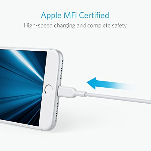 Anker PowerLine II Lightning Cable (3ft), Probably The World's Most Durable Cable, MFi Certified for iPhone X / 8 / 8 Plus / 7 / 7 Plus / 6 / 6 Plus / 5s (White)