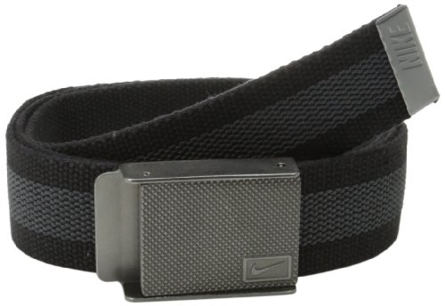 Nike Men's Rubber Inlay Reversible Web Belt, Black, One Size