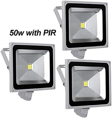 Leetop 3pcs 50W LED Blanco Frío Reflector Exterior Luz de ...
