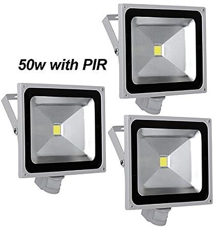 Leetop 3pcs 50W LED Blanco Frío Reflector Exterior Luz de Inondazione con Sensor de Movimiento