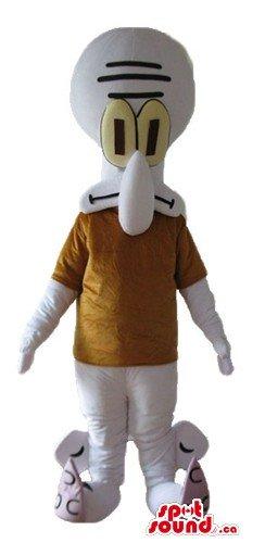Squidward Tentacles cartoon character SpotSound Mascot US costume fancy (Squidward Costumes)