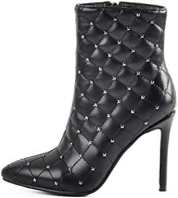 8af5374d754b onlymaker Women s Pointed Toe Ankle Boots with Rivets High Heel Stiletto  Lattice Side Zipper Mid-