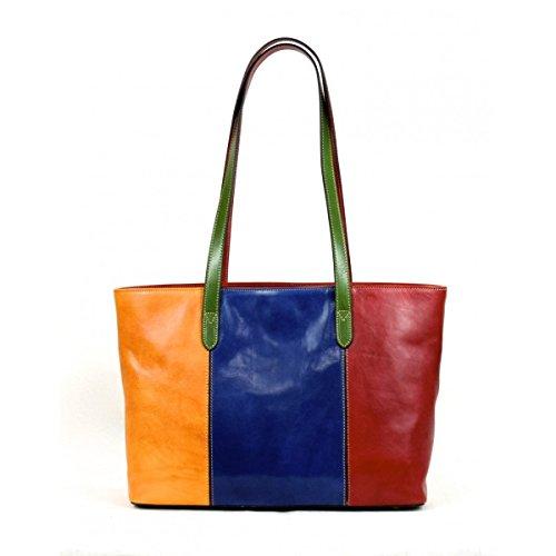 Sac Shopper Pour Femme En Cuir Véritable Avec Compartiment Intérieur Couleur Multicolor - Maroquinerie Fait En Italie - Ligne Prestige