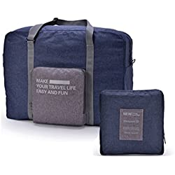 CalorMixs Large Nylon Travel Tote Luggage Men's Weekender Duffle Bag Foldable Duffel Express Travel Duffel Bag (Deep Blue)