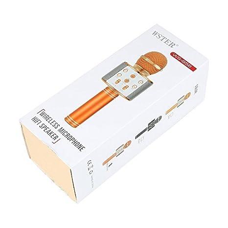 Samyo - Micrófono inalámbrico con Bluetooth para Karaoke, compatible con iOS y Android, rosa dorado: Amazon.es: Instrumentos musicales