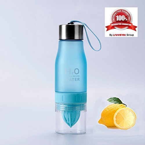LiveWire Premium Water Bottle with 2-in-1 Fruit Infuser & Integrated Juicer made with Tritan plastic (BPA/EA-free) 22 Ounce.For awesome infused water.