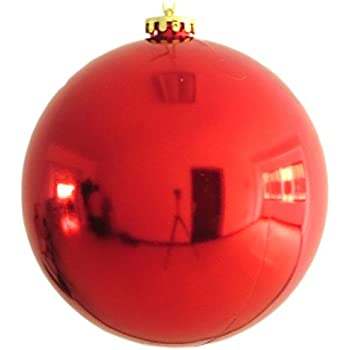 Amazon.com: 1 Large 8'' Shiny Red Christmas Ball Ornaments 8inch ...