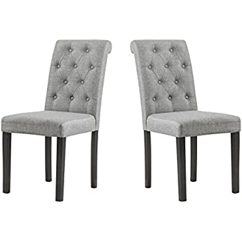 YEEFY Habit Solid Wood Tufted Parsons Dining Chair Set Of 2 Gray