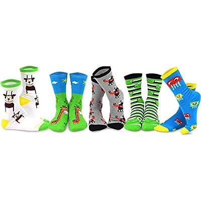 Teehee Novelty Cotton Crew Fun Socks 5-Pack For Women - Monsters-B