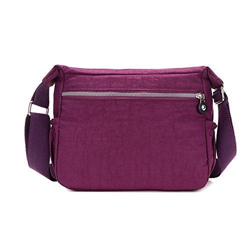 Shoulder Women's Nylon Multi SUNRAY Waterproof Tote 20H Design 10D Body Purple Handbag BUY Cross Bag 25W Pocket Purse 1qSSIv0
