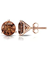 14k Gold Round Brown Diamond 3-Prong Martini Stud Earrings (1/4 - 2 ct, Brown, SI1-SI2) Push-Back
