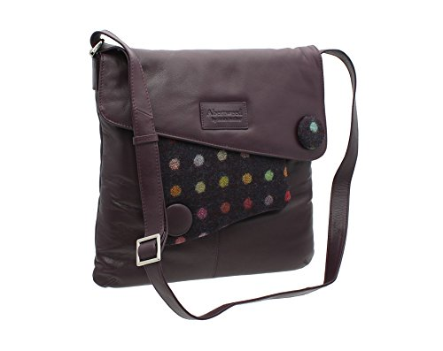 Collection 730 40 Abertweed Black Mala Leather Body Plum Bag Tweed amp; Spot Cross x8pSgSnqwE
