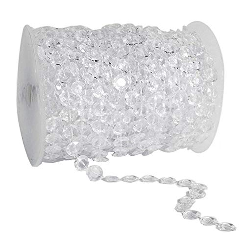 HYBEADS 99 ft Clear Crystal Like Beads by the roll Wedding Decorations