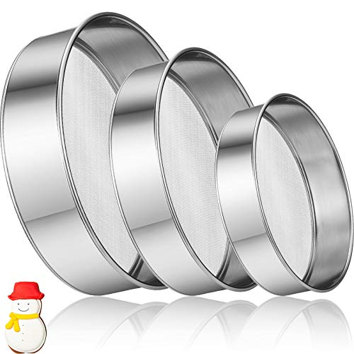 3 Pieces Stainless Steel Round Flour Sifter 6 Inch and 8 Inch 60 Mesh 7 Inch 40 Mesh Sieve Fine Mesh for Bake Decorate Cakes, Pies, Pastries, Cupcakes