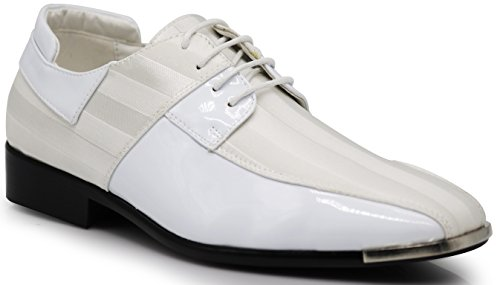 JY5N Men's Satin Metal Silver Tip Oxfords Tuxedo Dress Shoes Stripes Oxfords Dress Shoes (10 D(M) US, - Shoe White Tuxedo