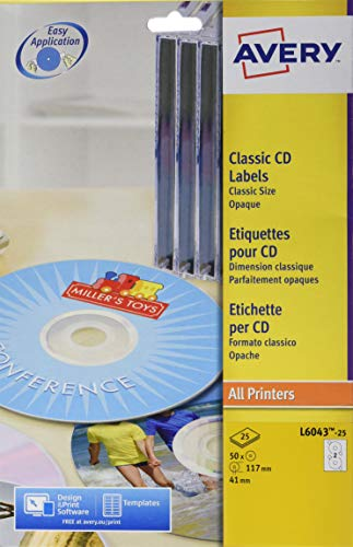 L6043-25 Avery Laser Matt White CD Labels Classic Size ()