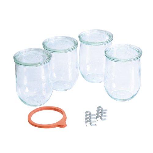 WECK Einmachglas Set, 4 Einweckgläser mit Glasdekel, inkl. 5 Gummiringen und 8 Einmachklammern, ideal zum klassischen Einkochen von Früchten und Gemüse, jeweils 1 Liter Fassungsvermögen, tulpenförmig, Einwegläser, Sturzglas, Vorratsglas mit Glasdeckel, Dekoglas, Gläser sind spülmaschinengeeignet