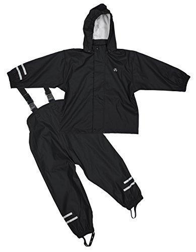 Elka Regenanzug Regenhose + Regenjacke für Kinder, gestreift und einfärbig Farben viele Größen 220g/Polyester (110, Schwarz)