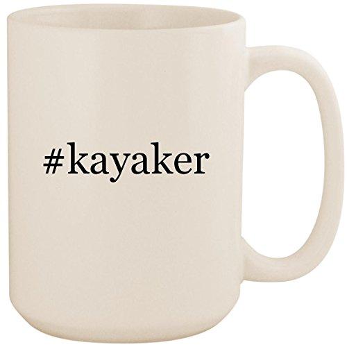 #kayaker - White Hashtag 15oz Ceramic Coffee Mug Cup