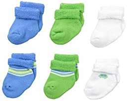 Gerber Baby Boys 6 Pack Variety Socks, Car and Stripe, 3-6 Months