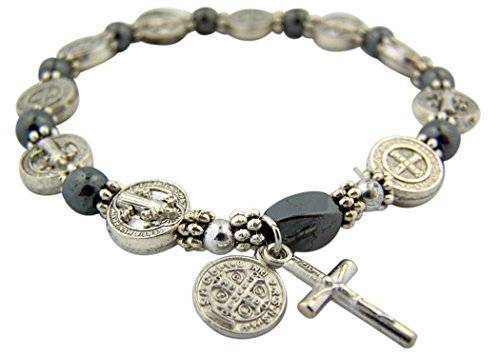 Silver Benedict Hematite Rosary Bracelet product image
