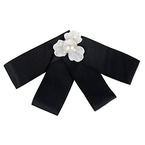 Lots Style Rhinestone Crystal Bow Tie Ribbon Brooch Pins for Women Jewelry Daily Novelty Aesthetic Girls Woman Jewerly | StyleID - #05 Black three-petal flower