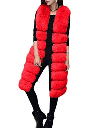 Red inverno cappotto pelliccia stile Faux Vest lungo di ' Womens caldo FOLOBE EHPBqB