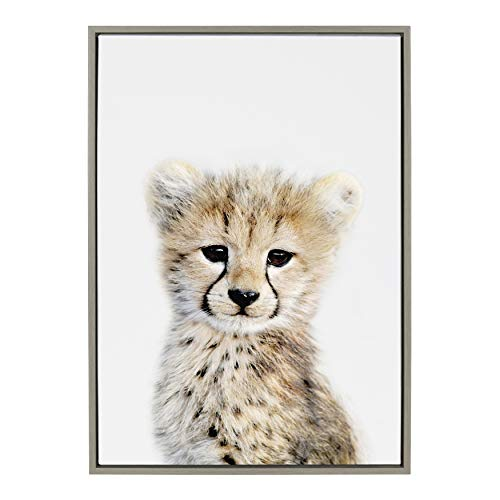 Kate and Laurel Sylvie Baby Cheetah Animal Print Portrait Framed Canvas Wall Art by Amy Peterson, 23x33 Gray