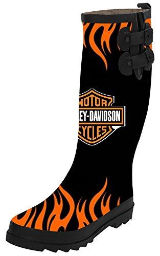 Ta Ta Frog Harley Davidson Fashion Womens Top Solid Rain Knee High Boots Waterproof Tall Rainboots 36