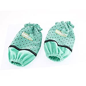 uxcell Dots Pattern Bowknot Decor Elastic Cuff Oversleeve Sleevelet Pair
