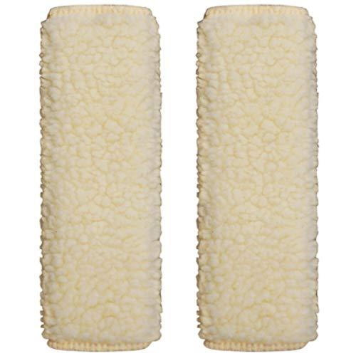 (Sojoy 1 Pair of Simulated Sheepskin Seat Belt Shoulder Pads (Beige & Cream))