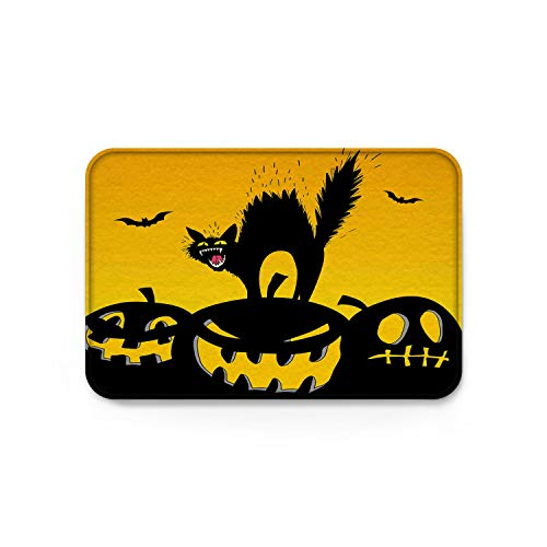 wanxinfu Doormats Halloween Screaming Black Cat Pumpkin Welcome Mats, Non Slip Backing Rubber Shoes Scraper Mud Dirt Scraper Entrance Mats Rugs for Indoor Floor Front Door Kitchen Bathroom Bedroom -
