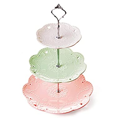 Jusalpha 3-tier Porcelain Cake Stand-Dessert Stand-Cupcake Stand-Tea Party Serving Platter, 3 Color (Silver)