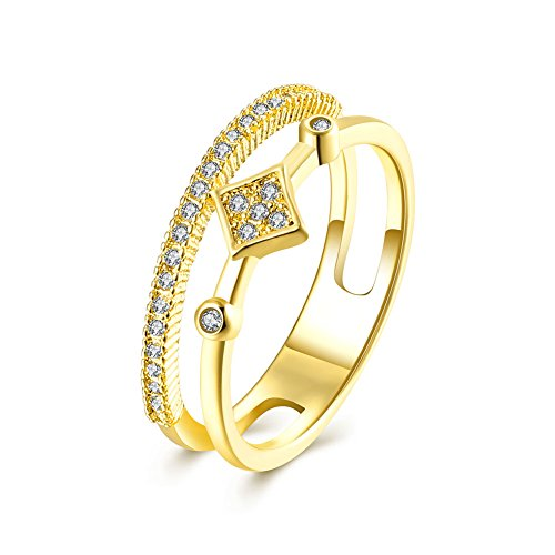 Naivo 18K Gold Plated Pave Geometric Diamond Cut Ring
